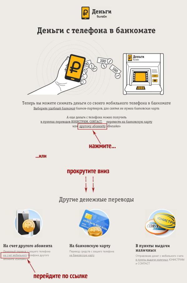 Как перевести деньги с Билайна на Билайн через Интернет?